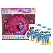 Idena 10111142b - Niños CD Player Sing Along con 2 micrófonos y pantalla LED, incluye pilas Energizer Advanced, color rosa