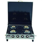Sunshine Four Burner CT 200 Cover Heavy Stainless Steel Manual Ignition Gas Stove