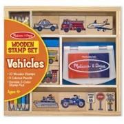 Детски дървени печати дървени с превозни средства, 12409 Melissa and Doug, 000772124096