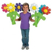Fun Express Inflatable Flowers Novelty (12 Pack) 24 Pink/Yellow/Purple/White/Blue/Red