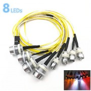 Kalevel Led Light for Rc Trucks Cars 8 LED Rc Car Led Light Kit Rc Truck Led Lights Rc Truck Light Kit Rc Car Headlights Taillight for Truck Rc Car Tank HSP Rc Car Accessories White Red Yellow