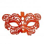 Orange Cat Eye Glitter Masquerade Mask