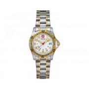 Reloj Wenger Regimen PVD dial blanco brazalete bicolor