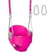 """Swing Set Stuff Highback Full Bucket Swing Seat with Coated Chain SSS-00 Chain Length: 60.5"""""""", Color: Pink"""