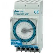 Suevia DIN sínes mechanikus napi időkapcsoló óra, 1 áramkör, 250V/16A, min. 15 perc, SUPRA QRD (1983