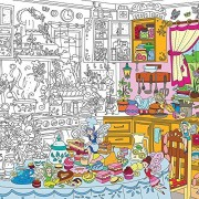 Colorings For Children Kitchen Fairies. Coloring Pages Books Papers For Kids And Adults. Color Posters For Family Xl Size