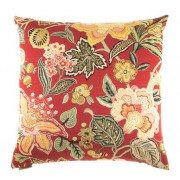 "24"" x 24"" augustus red floral pattern print throw pillow with a feather/down insert and zippered removable cover"