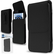 Carbon Fibre / Fiber Black PREMIUM PU Leather Vertical Executive Side Pouch Case Cover Holster with Belt Loop Clip and Magnetic Closure for Nokia E63