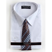 Huntley L/S Business Shirt And Tie White - White 37-38