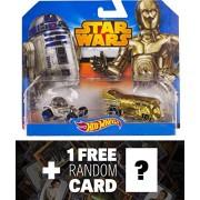 R2-D2 & C-3P0 1:64 Die-cast Vehicle: Star Wars x Hot Wheel Series + 1 FREE Official Star Wars Trading Card Bundle