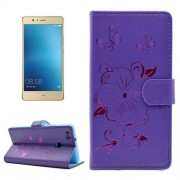For Huawei P9 Lite Bronzing Butterfly Pattern Horizontal Flip PU Leather Case with Holder & Card Slots & Wallet(Purple)