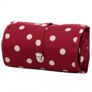 Reisenthel bolsa de aseo Wrapcosmetic, estuche para cosméticos, colgable, rojo granate dots / rojo with blanco dots, WB3014
