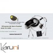 Chèque cadeau Karuni Chèque Cadeau en ligne bijoux décoration boutique Karuni - 20 euros ( Chèque Cadeau éthique 20 euros )