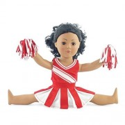 """Doll Clothes Fit American Girl Doll - Red Cheerleader Outfit - 18 Inch Clothing with 18"""" Accessories by Emily Rose Doll Clothes"""
