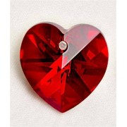 Regnbågsvävar Hjärta 18 mm röd siam