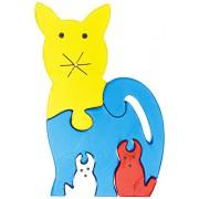 Skillofun Wooden Take Apart Puzzle Cat Family, Multi Color