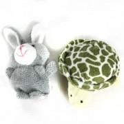 Tortuga Manga Finger + Rabbit Plush Doll - gris + blanco + Pink + Green
