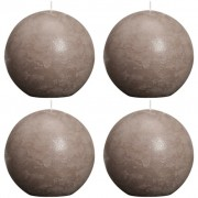 Bolsius Ball Rustic Candle Taupe 100mm 4 pcs Set