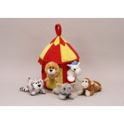 Plush Circus Animal House with Animals - Five (5) Stuffed Circus Animals ( Horse, Monkey, Elephant,