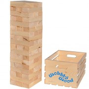 Wobbly Wood Stacking Game - Set of 54 Giant Blocks to stack over 5 feet tall - Comes with Wood Carrying Crate