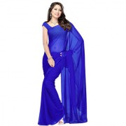 Lovely Look Latest collection of Plain Sarees Royal Blue Color