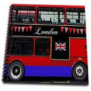 3dRose db_113051_2 London Double Decker Red Bus with Bunting and Flag-UK Great Britain United Kingdom Travel Souvenir-Memory Book 12 by 12-Inch