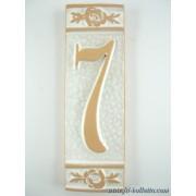 Numero civico ceramica con fiore bianco nfb7