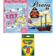 Pirates & Princesses Sticker Activity Books (set of 2 books 60 stickers and Crayola crayons)