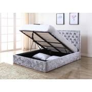 Yasmin Storage Crushed Velvet King Size Bed Silver - 5ft