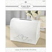 """Amscan Traditional Wedding Party White Card Holder Box With Silver Glitter Hearts, Fabric, 12"""" x 15"""" x 10"""""""