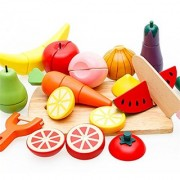 Joyeee Wooden Cutting Fruit & Vegetable Set with Magnetic Food - Children Toddler Pretend Wood Play Food Set Toys for Child 3 Year and Up - Perfect Christmas Gift Idea