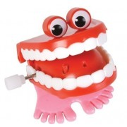 2-chattering Chomping Wind up TOY Walking Teeth with Eyes