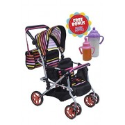 TWIN DOLL Stroller with Diaper Bag and Swivel Wheels