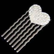 Swarovski Crystal Bridal Valentine Love Heart Hair Comb Jewelry