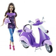 Teresa Doll With Purple Scooter and Helmet - Barbies Friend Teresa Glam Scooter Vespa by Barbie (English Manual)
