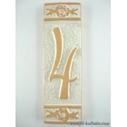 Numero civico ceramica con fiore bianco nfb4