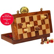 AB handicrafts 7X7 Inch Chess Set with Red Color - Folding Magnetic Travel Chess Set - Classic Handmade Standard Staunton Ultimate tournament Rosewood Chess Board