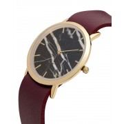 Analog Watch Classic Black Marble Dial & Cherry Strap Watch GC-CB