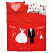 Bassetti completo lenzuola copriletto matrimoniale Love is a Couple G700