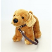 30cm Golden Labrador Soft Toy Dog on Brown Lead