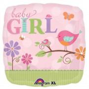 Balon folie 45cm patrata Baby Girl, Amscan 25084