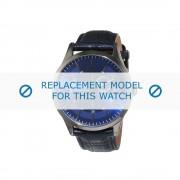 Cerruti (vervangend model) horlogeband AS-Torcello - CRA124SU03BL Leder Blauw 22mm