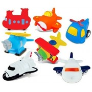 Puzzled Helicopter,Airplane,Sea Knight Helicopter,Sea Plane,Bi Plane,Jetliner And Space Shuttle Rubber Squirter Bath Buddy Bath Toy Aircraft\Helicopters\Space Theme 3 Inch