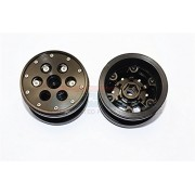 Aluminium+ Plastic Beadlock Weighted Wheels With Weight Holder & Bearings Suitable For All 2.2'' Tires - 1Pr Set Black
