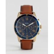 Fossil Часы-хронограф с кожаным светло-коричневым ремешком Fossil FS5268 Gran