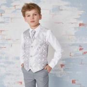 River Island Boys grey paisley waistcoat and shirt set