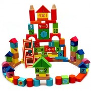 100 Piece Wooden Block Construction Building Set
