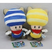 "2pcs/set Super Mario Bros Flying Squirrel Musasabi Toad 8"" Stuffed Animals Plush Doll Toy Blue & Yellow by HeartShop Plush Toys"