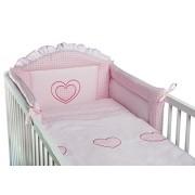 3 piezas ropa de cama de bebé de juego de copas de (cartucho de tinta para ajuste de uno o dos cama y espuma con funda extraíble y espuma con funda extraíble) - diseño de bordado de copos de nieve y corazones rosa Talla:cuna - 140 x 70 cm