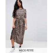 ASOS PETITE Midi Dress in Leopard with Self Tie Belt - Leopard print (Sizes: UK 6, UK 2, UK 4)